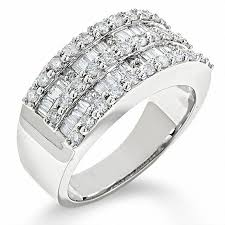 baguette diamond band 1 ct t w and baguette diamond band in 14k white gold 1
