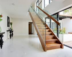 Glass Banister Staircase Wood And Glass Staircases Houzz