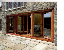 Wide Exterior Doors by Cottage House Design With Wooden Frame Bifold Glass Door In Brown