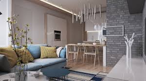contemporary home design exposed brick pads and muted pastel tone