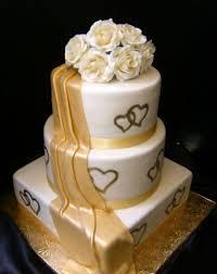 Heart Wedding Cake Gold Double Heart Wedding Cake Cakecentral Com