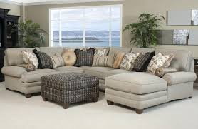 traditional styled sectional sofa with comfortable pillowed seat