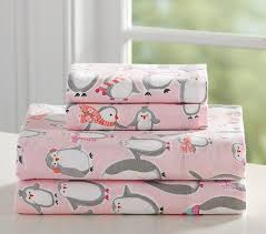 Flannel Crib Bedding Penguin Flannel Sheet Set Pottery Barn