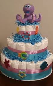purple and blue octopus diaper cake under the sea theme free