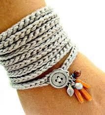 crochet bracelet images Crochet bracelet with charms wrap bracelet silver grey cuff jpg