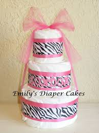 diaper cakes by emily pink and zebra diaper cake