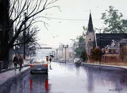 wet street painting with reflections painting with watercolors