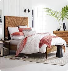 solid wood chevron headboard and bedframe grown up bedroom ideas