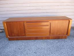 Parker Sideboard Excellent Danish Modern Tamboured Door Teak Credenza Plinth Base