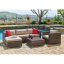 Cover For Sectional Sofa Amazon Com 7pcs Polar Aurora Outdoor Patio Furniture Rattan