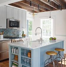 kitchen island with barstools sky blue kitchen island with shelves transitional kitchen