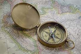 Old Map South America by Vintage Pocket Brass Compass Over Old Map Of South America