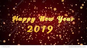 Happy New Year 2019 Greeting Card Text Shiny Particles For