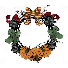 vintage wreath template thanksgiving day stock vector art