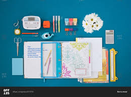 Desk Organized by Top View Of Organized Desk Stock Photo Offset