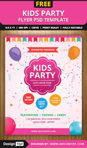 free kids party flyer psd template free flyers pinterest