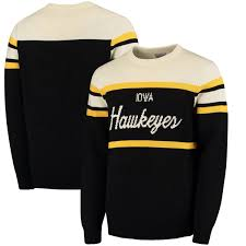 iowa hawkeye sweater s black iowa hawkeyes tailgate crew neck sweater the