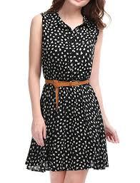 sleeveless dress allegra k women s half placket above knee printed belted