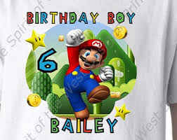 personalized super mario brothers birthday iron shirt