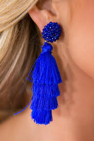 royal blue earrings bahama days tassel earrings in royal blue impressions