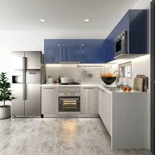 kitchen cabinets gray stain item oppein high gloss blue and grey stain fitted kitchen cabinets
