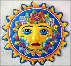 Sun Wall Decor Outdoor Handcrafted Metal Sun And Moon Wall Art Haitian Steel Drum Metal Art