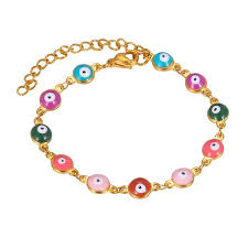 evil eye beaded bracelet images Rainbow evil eye bracelet ethnic women jewelry wholesale stainless jpg