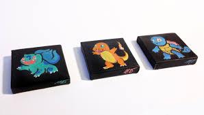 tiny hand painted starter pokemon trio sprite stitch