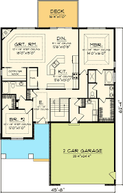Floor Plans For A 2 Bedroom House Easy To Build 2 Bed Home Plan 89819ah Craftsman Northwest
