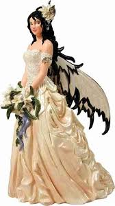 fantasy couture dark haired fairy bride wedding cake topper