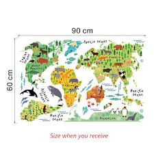 World Map Wall Sticker by Zooyoo Animal World Map Wall Decal Lyst U0026 Co