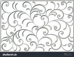 3d floral square swirl ornament decorative stock illustration