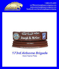 us army airborne brigade desk name plate and coin stand top design jump wing air assault wing rigger wing insignias left design us army seal right