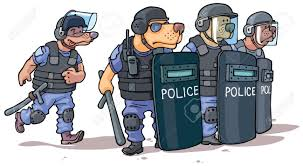 the cartoon dogs in the police uniform are standing behind the