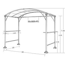 Walmart Bbq Grill Gazebo by Abba Patio 9 X 5 Ft Outdoor Backyard Bbq Grill Gazebo With Steel