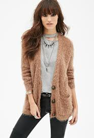 forever 21 fuzzy knit v neck cardigan in brown lyst