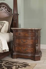 Natural Cherry Bedroom Furniture by Natural Marble Topped Nightstand In Rich Cherry Finish From The