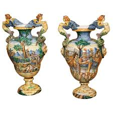 urns for sale pair of italian majolica painted urns at 1stdibs