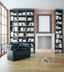 luxurious library interior with black leather sofa bookshelves