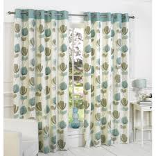 Vintage Green Curtains Lotti Modern Retro Floral Printed Design Readymade Lined Eyelet