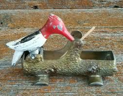 vintage cast metal woodpecker toothpick dispenser toothpick
