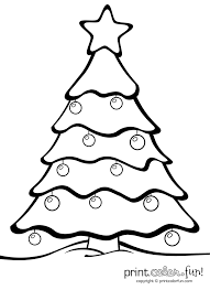 christmas tree with ornaments print color fun free printables