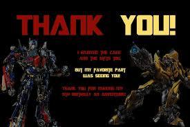 transformers birthday novel concept designs transformers birthday thank you card