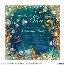 fancy under the sea birthday party card party invitations