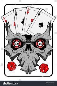 skull cards dicevector illustration stock vector 370804748