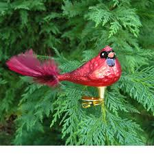 glass cardinal bird ornament with feather garden artisans llc