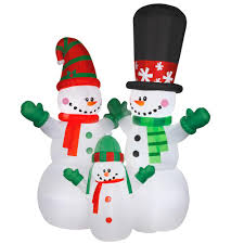 Home Depot Inflatable Christmas Decorations National Tree Company 144 In Inflatable Snowman Family Ge9 89906