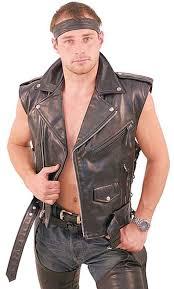 biker jacket vest sleeveless leather motorcycle jacket vm30mck