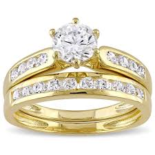 overstock wedding ring sets miadora yellow silver channel set cubic zirconia bridal wedding