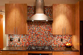Red Kitchen Backsplash L Shape Kitchen Decorating Design Using Red Cherry Wood Kitchen